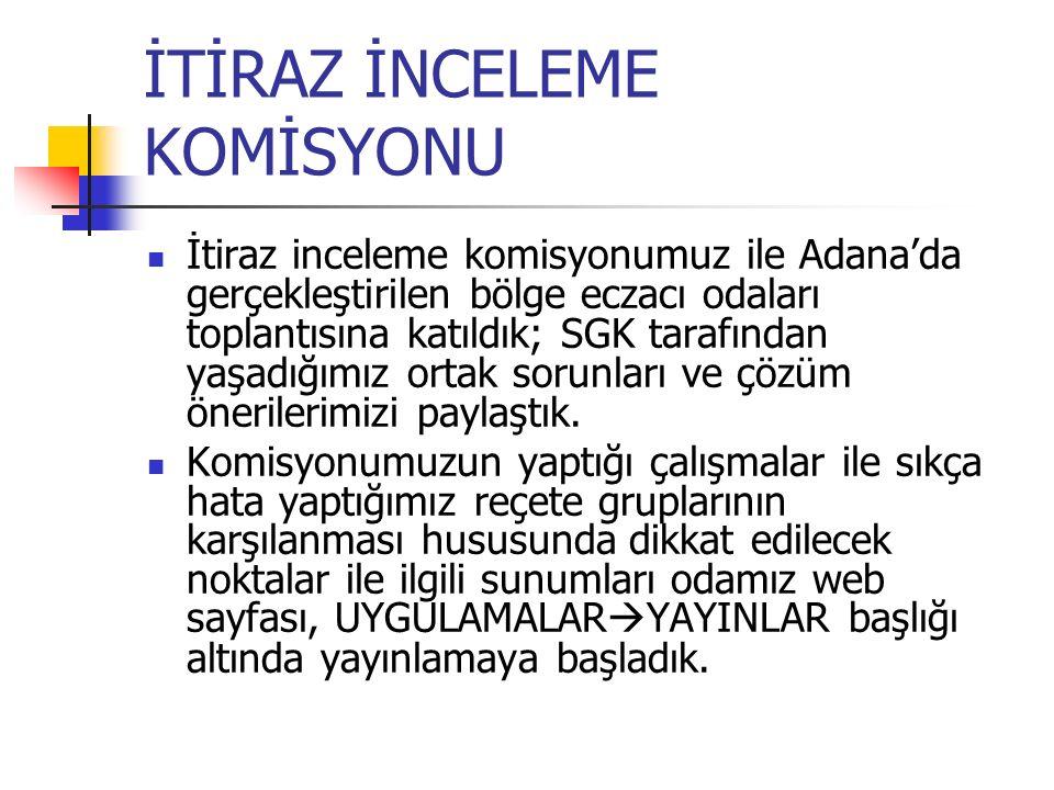 İTİRAZ İNCELEME KOMİSYONU İtiraz inceleme komisyonumuz ile Adana'da gerçekleştirilen bölge eczacı odaları toplantısına katıldık; SGK tarafından yaşadı
