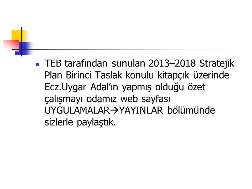 TEB tarafından sunulan 2013–2018 Stratejik Plan Birinci Taslak konulu kitapçık üzerinde Ecz.Uygar Adal'ın yapmış olduğu özet çalışmayı odamız web sayf