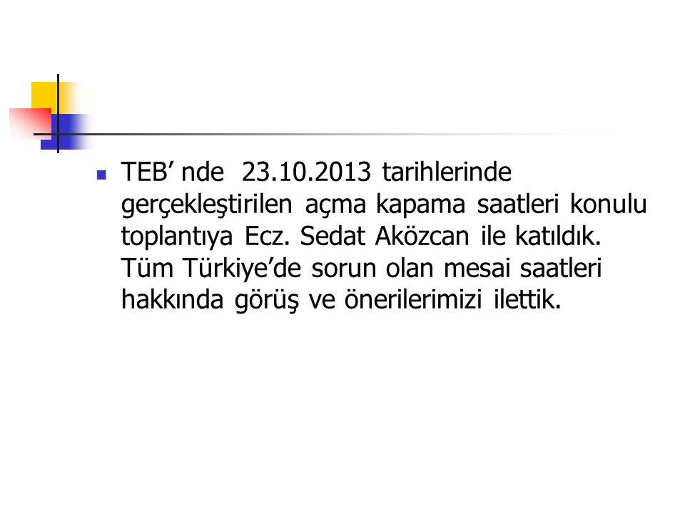 TEB' nde 23.10.2013 tarihlerinde gerçekleştirilen açma kapama saatleri konulu toplantıya Ecz. Sedat Aközcan ile katıldık. Tüm Türkiye'de sorun olan me