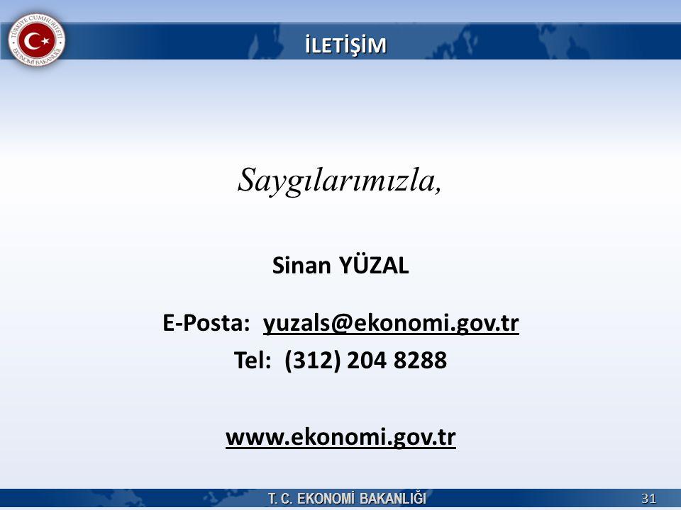 T. C. EKONOMİ BAKANLIĞI 31 Saygılarımızla, Sinan YÜZAL E-Posta: yuzals@ekonomi.gov.tr Tel: (312) 204 8288 www.ekonomi.gov.tr İLETİŞİM