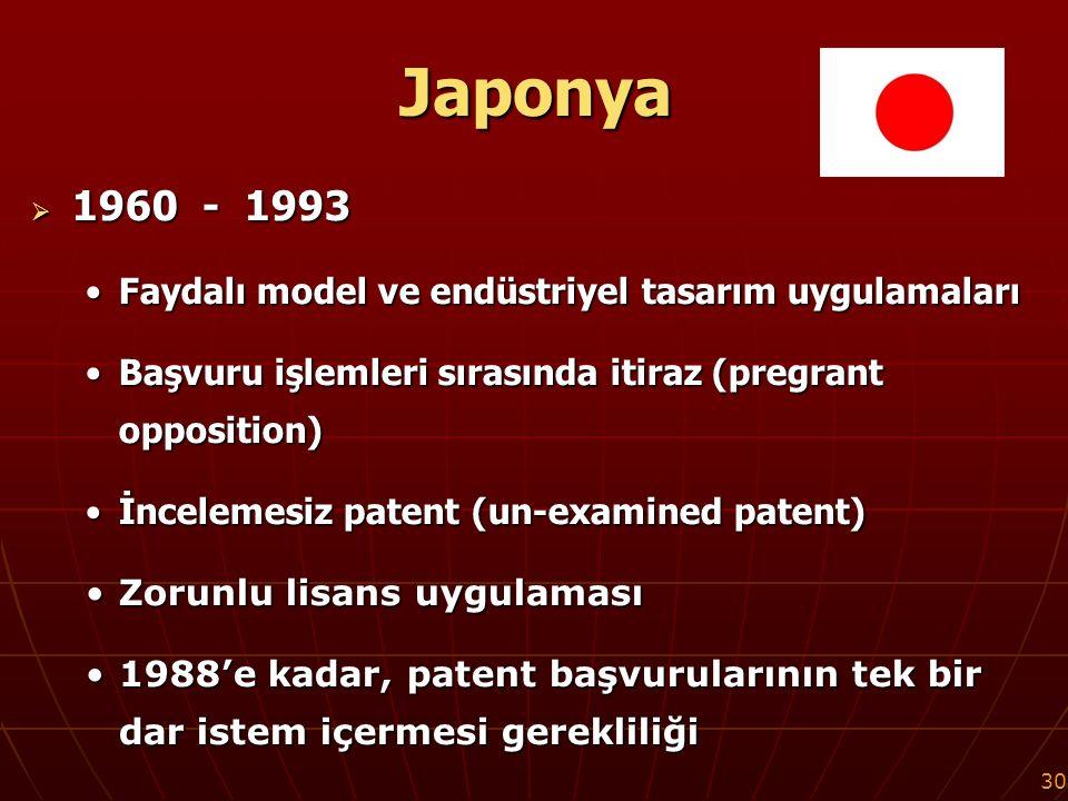 30 Japonya  1960 - 1993 Faydalı model ve endüstriyel tasarım uygulamalarıFaydalı model ve endüstriyel tasarım uygulamaları Başvuru işlemleri sırasında itiraz (pregrant opposition)Başvuru işlemleri sırasında itiraz (pregrant opposition) İncelemesiz patent (un-examined patent)İncelemesiz patent (un-examined patent) Zorunlu lisans uygulamasıZorunlu lisans uygulaması 1988'e kadar, patent başvurularının tek bir dar istem içermesi gerekliliği1988'e kadar, patent başvurularının tek bir dar istem içermesi gerekliliği