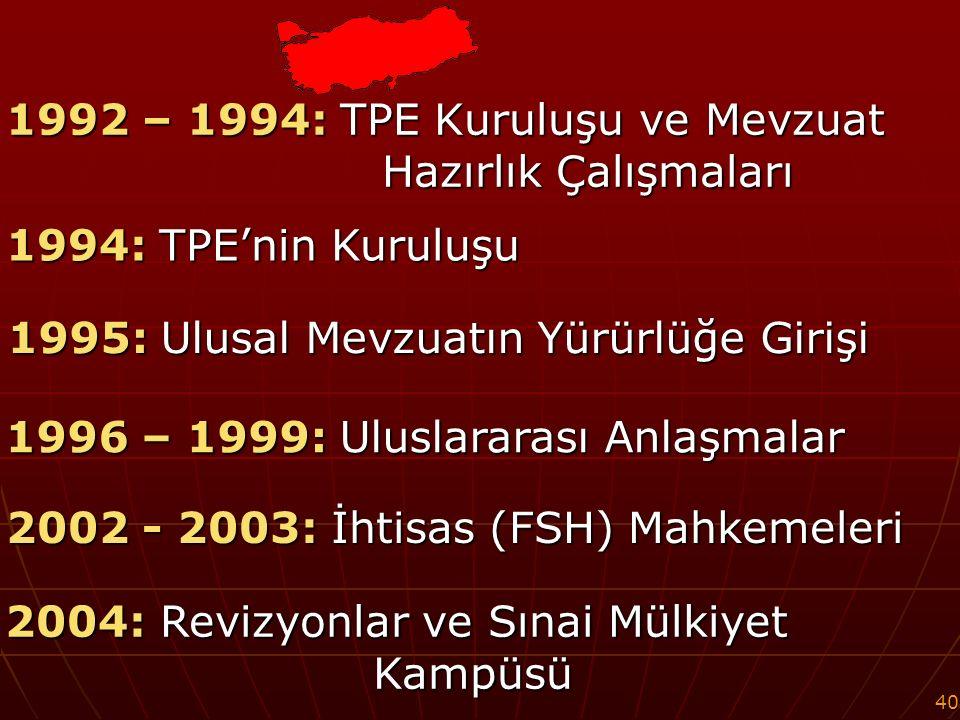 40 1992 – 1994: TPE Kuruluşu ve Mevzuat Hazırlık Çalışmaları 1994: TPE'nin Kuruluşu 1996 – 1999: Uluslararası Anlaşmalar 1995: Ulusal Mevzuatın Yürürlüğe Girişi 2002 - 2003: İhtisas (FSH) Mahkemeleri 2004: Revizyonlar ve Sınai Mülkiyet Kampüsü