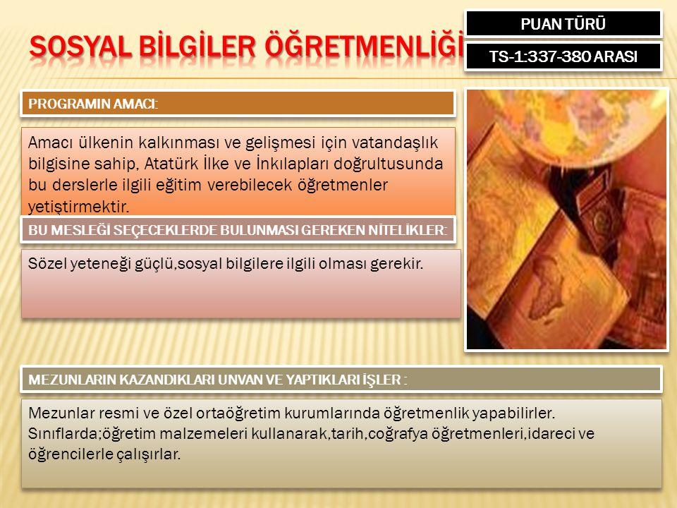 PUAN TÜRÜ TS-1:337-380 ARASI PROGRAMIN AMACI: Amacı ülkenin kalkınması ve gelişmesi için vatandaşlık bilgisine sahip, Atatürk İlke ve İnkılapları doğr
