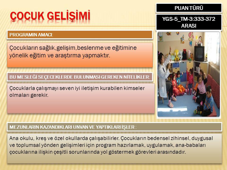 PUAN TÜRÜ YGS-5_TM-3:333-372 ARASI PROGRAMIN AMACI: Çocukların sağlık,gelişim,beslenme ve eğitimine yönelik eğitim ve araştırma yapmaktır. BU MESLEĞİ