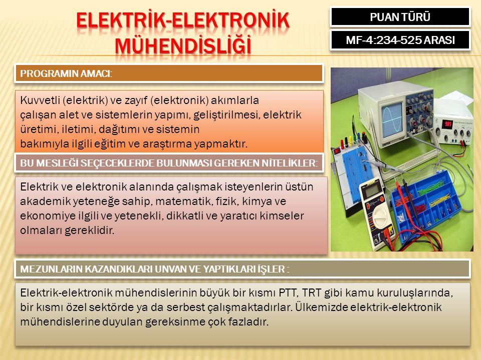 PUAN TÜRÜ MF-4:234-525 ARASI PROGRAMIN AMACI: Kuvvetli (elektrik) ve zayıf (elektronik) akımlarla çalışan alet ve sistemlerin yapımı, geliştirilmesi,