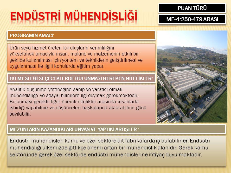 PUAN TÜRÜ MF-4:250-479 ARASI PROGRAMIN AMACI: Ürün veya hizmet üreten kuruluşların verimliliğini yükseltmek amacıyla insan, makine ve malzemenin etkil