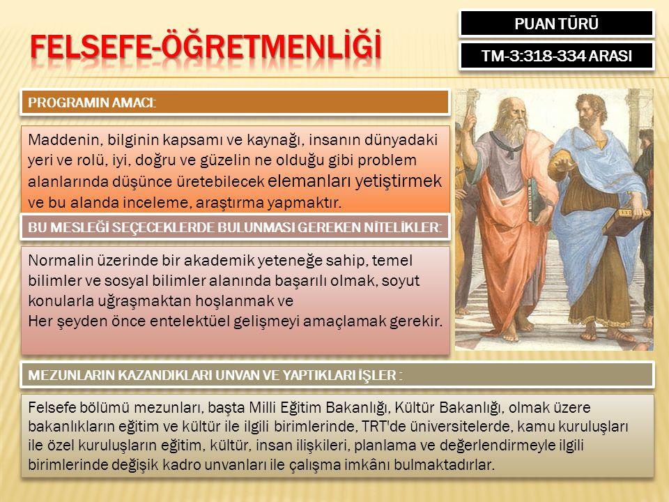 PUAN TÜRÜ TM-3:318-334 ARASI PROGRAMIN AMACI: Maddenin, bilginin kapsamı ve kaynağı, insanın dünyadaki yeri ve rolü, iyi, doğru ve güzelin ne olduğu g