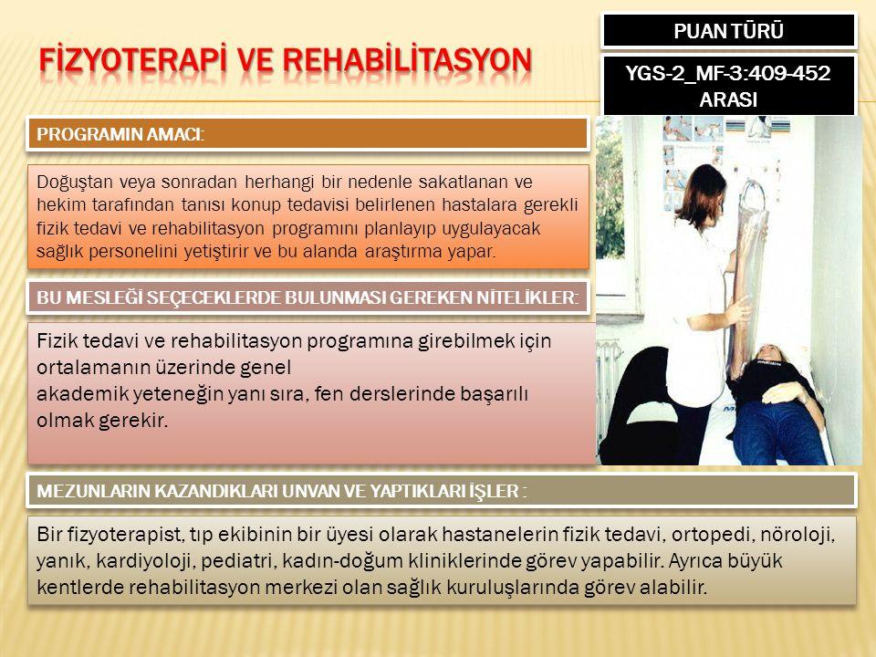 PUAN TÜRÜ YGS-2_MF-3:409-452 ARASI PROGRAMIN AMACI: Doğuştan veya sonradan herhangi bir nedenle sakatlanan ve hekim tarafından tanısı konup tedavisi b
