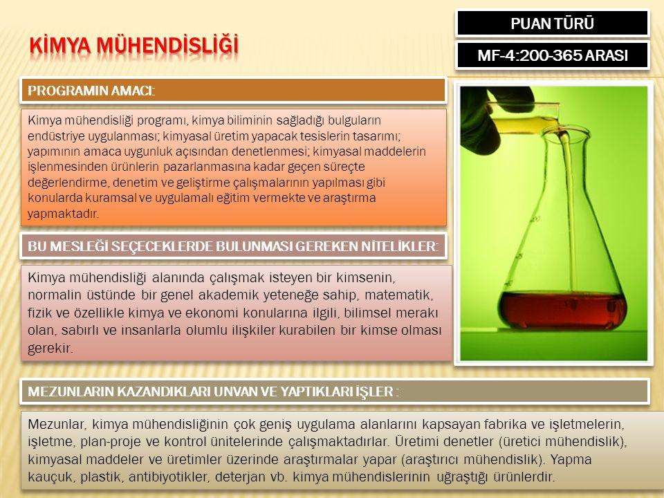 PUAN TÜRÜ MF-4:200-365 ARASI PROGRAMIN AMACI: Kimya mühendisliği programı, kimya biliminin sağladığı bulguların endüstriye uygulanması; kimyasal üreti