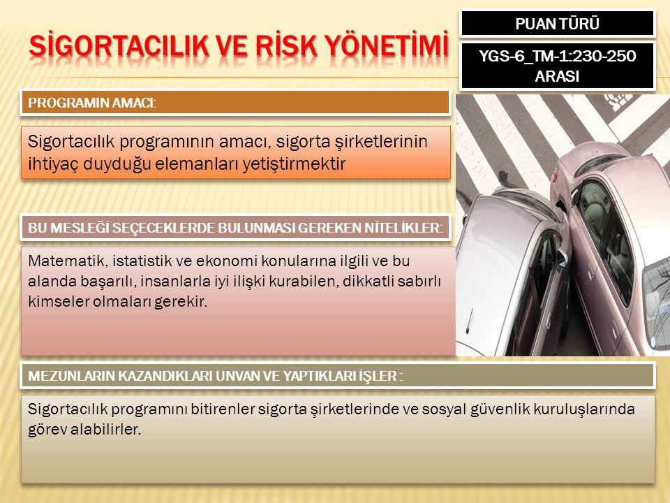 PUAN TÜRÜ YGS-6_TM-1:230-250 ARASI PROGRAMIN AMACI: Sigortacılık programının amacı, sigorta şirketlerinin ihtiyaç duyduğu elemanları yetiştirmektir BU
