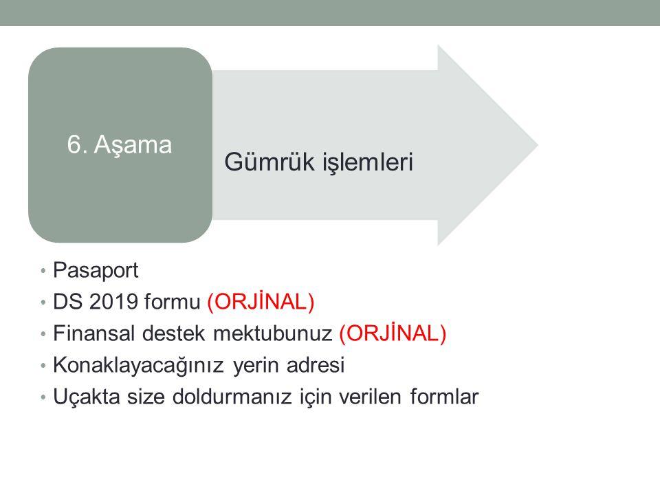 Pasaport DS 2019 formu (ORJİNAL) Finansal destek mektubunuz (ORJİNAL) Konaklayacağınız yerin adresi Uçakta size doldurmanız için verilen formlar 6.