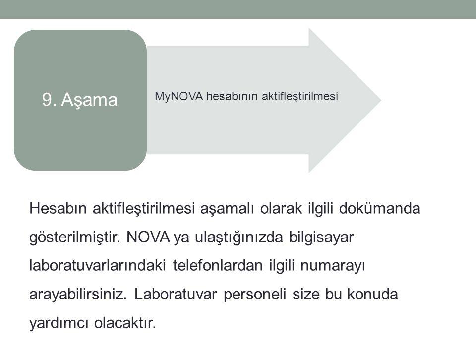 9. Aşama MyNOVA hesabının aktifleştirilmesi Hesabın aktifleştirilmesi aşamalı olarak ilgili dokümanda gösterilmiştir. NOVA ya ulaştığınızda bilgisayar