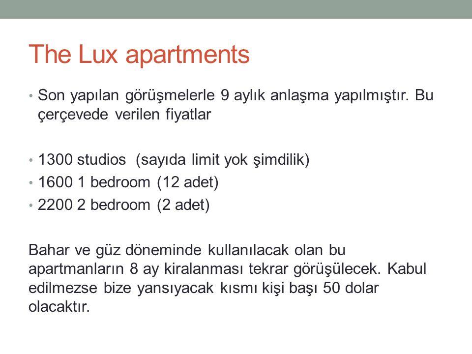 The Lux apartments Son yapılan görüşmelerle 9 aylık anlaşma yapılmıştır.