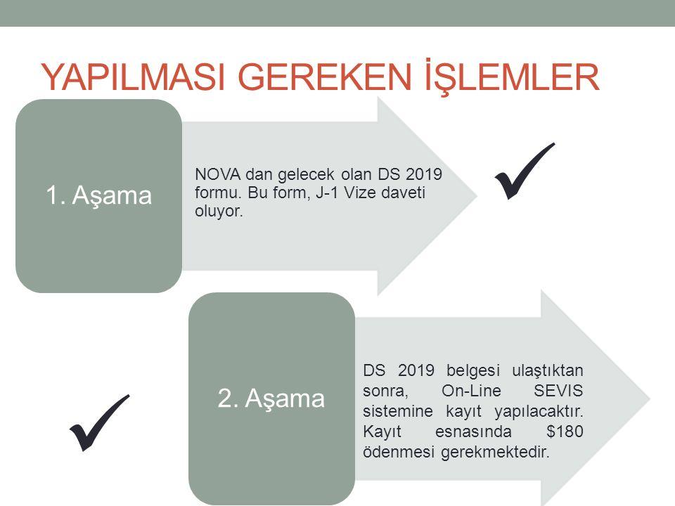 YAPILMASI GEREKEN İŞLEMLER 1. Aşama NOVA dan gelecek olan DS 2019 formu.