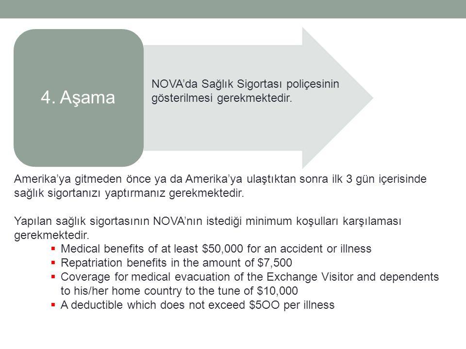 4.Aşama NOVA'da Sağlık Sigortası poliçesinin gösterilmesi gerekmektedir.