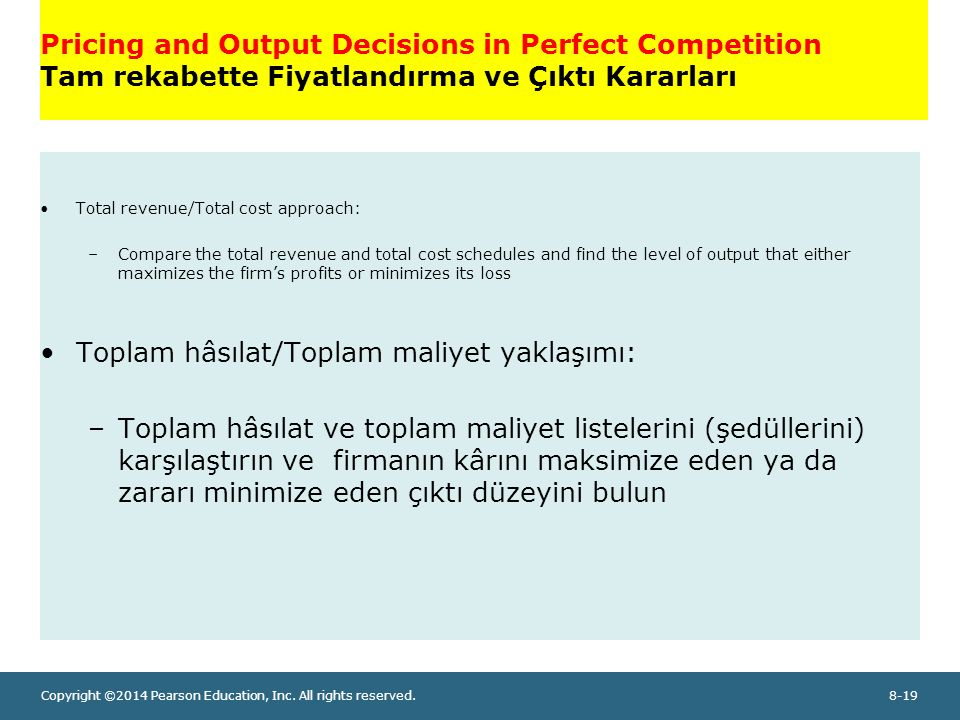 Copyright ©2014 Pearson Education, Inc. All rights reserved.8-19 Pricing and Output Decisions in Perfect Competition Tam rekabette Fiyatlandırma ve Çı