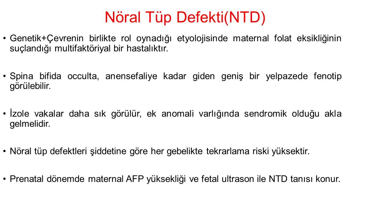 Nöral Tüp Defekti(NTD) Genetik+Çevrenin birlikte rol oynadığı etyolojisinde maternal folat eksikliğinin suçlandığı multifaktöriyal bir hastalıktır.