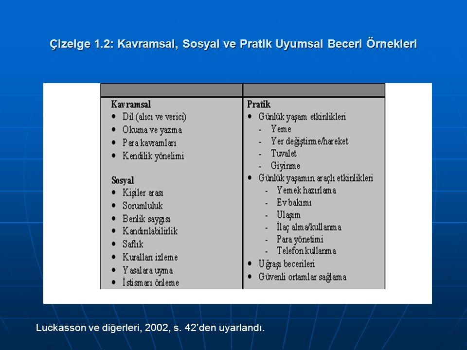 Çizelge 1.2: Kavramsal, Sosyal ve Pratik Uyumsal Beceri Örnekleri Luckasson ve diğerleri, 2002, s. 42'den uyarlandı.
