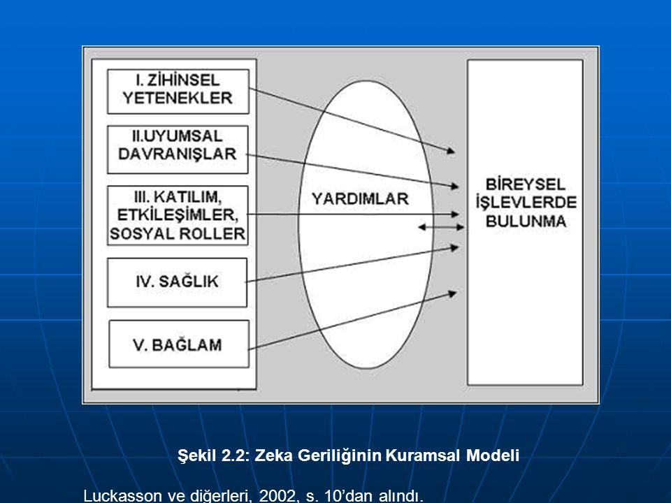 Şekil 2.2: Zeka Geriliğinin Kuramsal Modeli Luckasson ve diğerleri, 2002, s. 10'dan alındı.