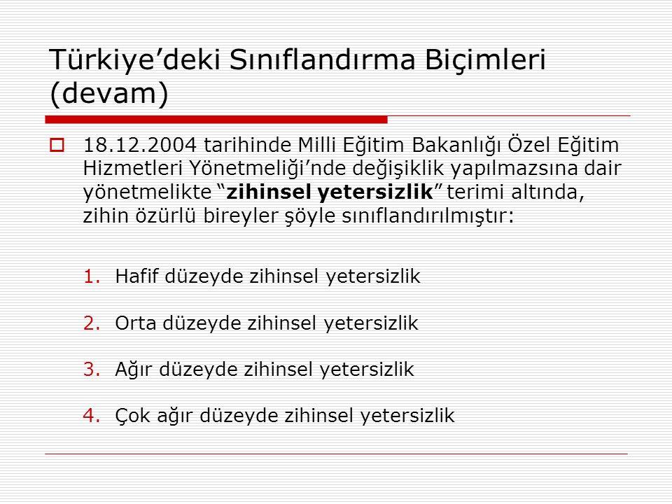 Türkiye'deki Sınıflandırma Biçimleri (devam)  18.12.2004 tarihinde Milli Eğitim Bakanlığı Özel Eğitim Hizmetleri Yönetmeliği'nde değişiklik yapılmazs