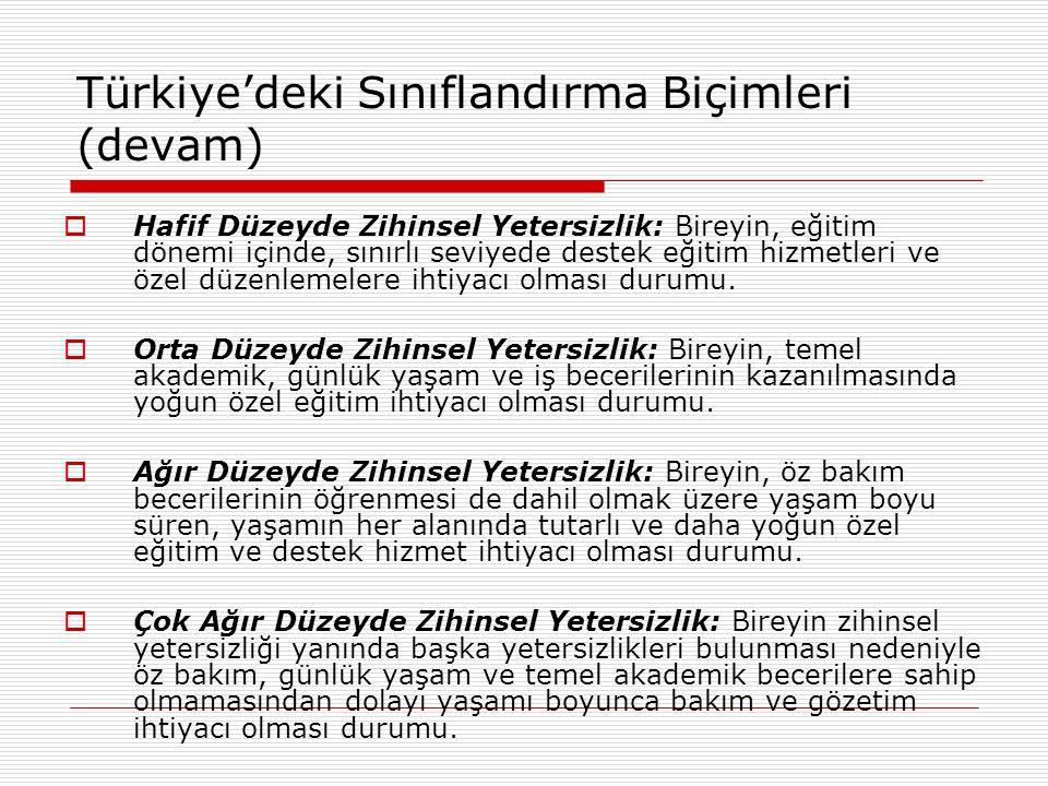 Türkiye'deki Sınıflandırma Biçimleri (devam)  Hafif Düzeyde Zihinsel Yetersizlik: Bireyin, eğitim dönemi içinde, sınırlı seviyede destek eğitim hizme