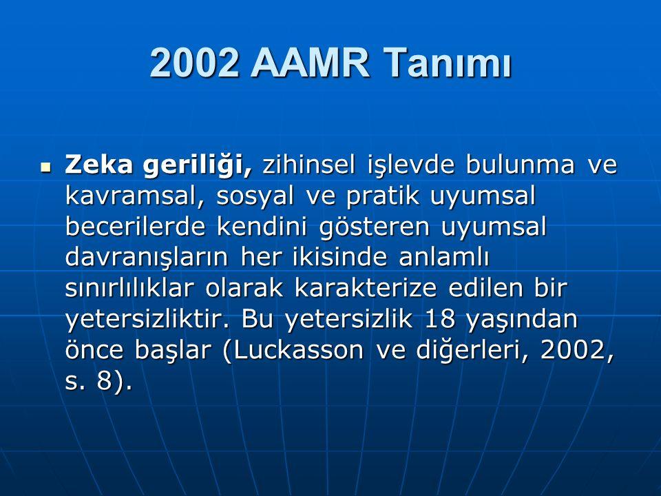 2002 AAMR Tanımı Zeka geriliği, zihinsel işlevde bulunma ve kavramsal, sosyal ve pratik uyumsal becerilerde kendini gösteren uyumsal davranışların her