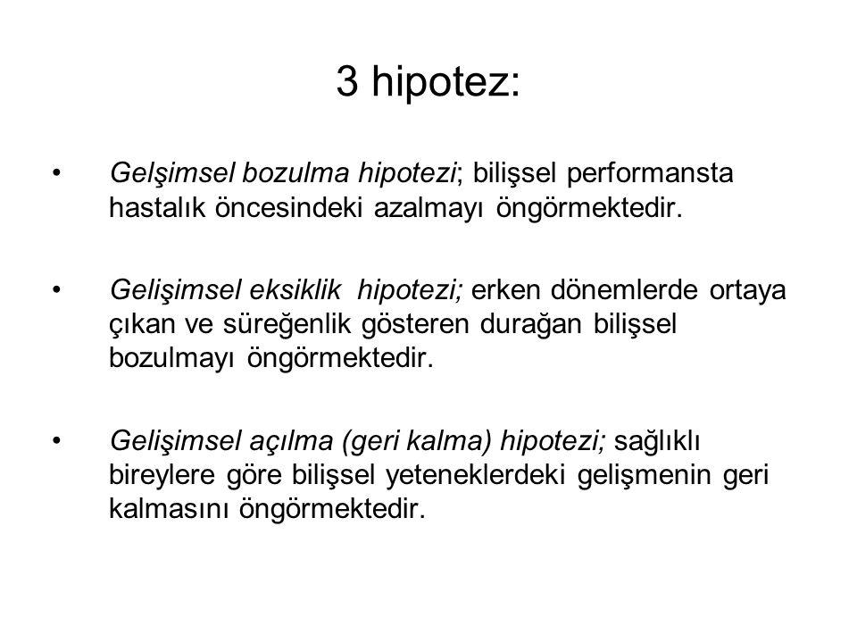3 hipotez: Gelşimsel bozulma hipotezi; bilişsel performansta hastalık öncesindeki azalmayı öngörmektedir.