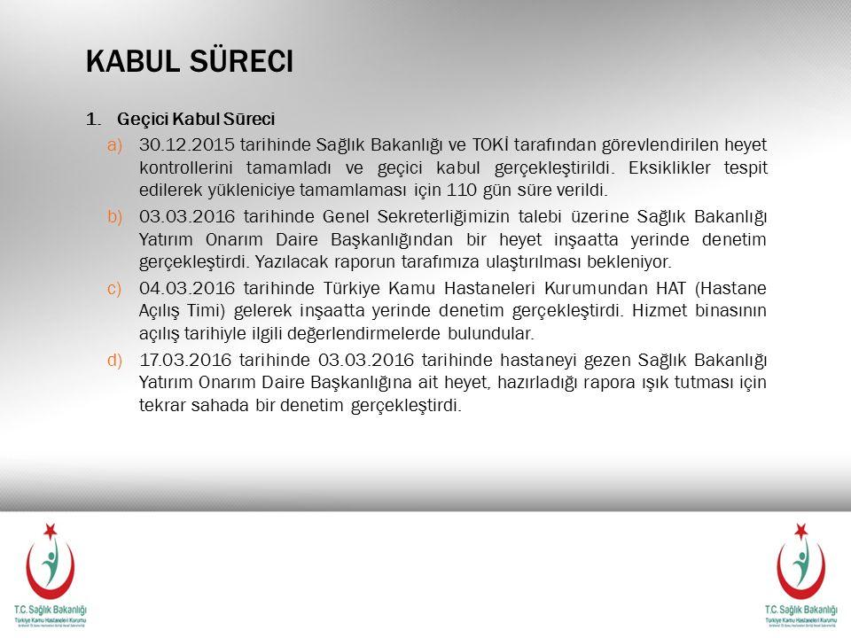 KABUL SÜRECI 1.Geçici Kabul Süreci a)30.12.2015 tarihinde Sağlık Bakanlığı ve TOKİ tarafından görevlendirilen heyet kontrollerini tamamladı ve geçici kabul gerçekleştirildi.