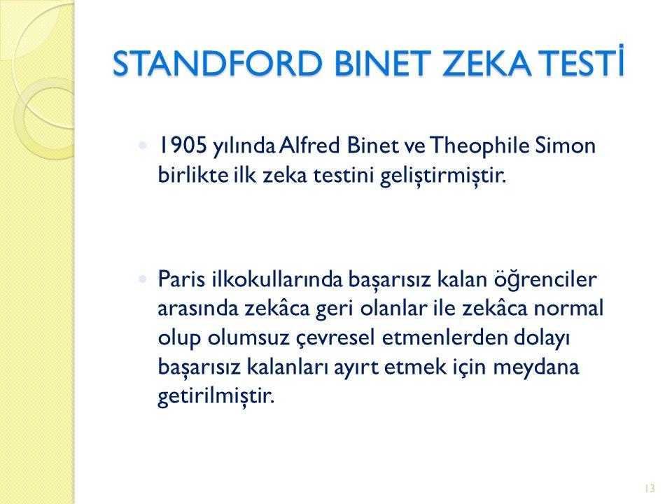 STANDFORD BINET ZEKA TEST İ 1905 yılında Alfred Binet ve Theophile Simon birlikte ilk zeka testini geliştirmiştir.