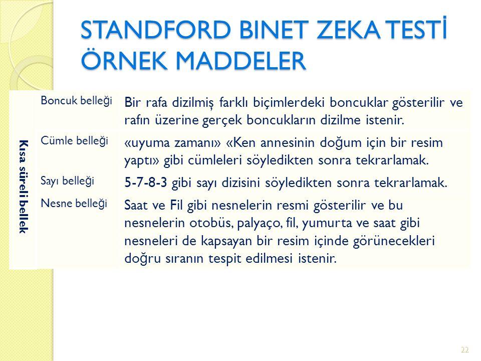 STANDFORD BINET ZEKA TEST İ ÖRNEK MADDELER Kısa süreli bellek Boncuk belle ğ i Bir rafa dizilmiş farklı biçimlerdeki boncuklar gösterilir ve rafın üzerine gerçek boncukların dizilme istenir.