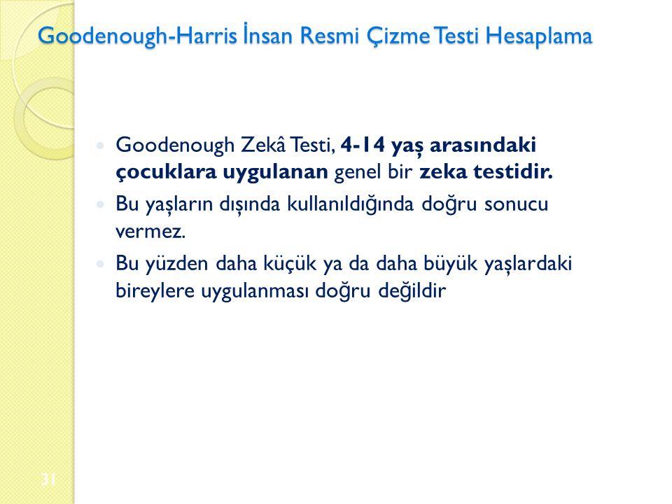 Goodenough-Harris İ nsan Resmi Çizme Testi Hesaplama Goodenough Zekâ Testi, 4-14 yaş arasındaki çocuklara uygulanan genel bir zeka testidir.