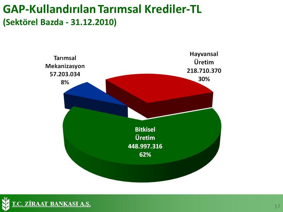T.C. ZİRAAT BANKASI A.Ş. GAP-Kullandırılan Tarımsal Krediler-TL (Sektörel Bazda - 31.12.2010) 17