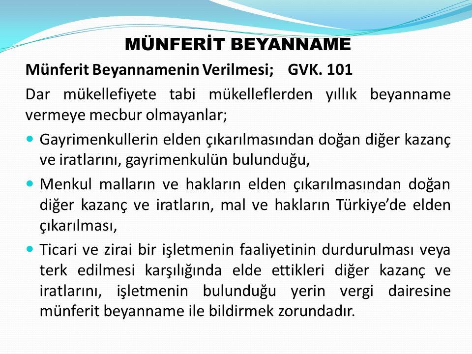 MÜNFERİT BEYANNAME Münferit Beyannamenin Verilmesi; GVK.