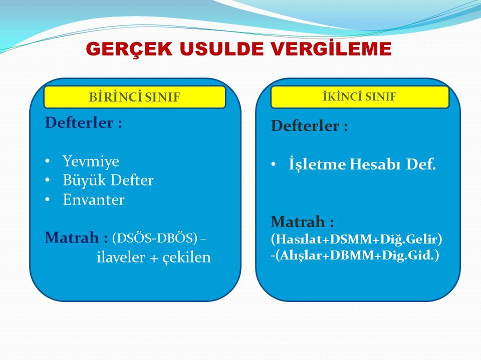GERÇEK USULDE VERGİLEME Defterler : Yevmiye Büyük Defter Envanter Matrah : (DSÖS-DBÖS) – ilaveler + çekilen Defterler : İşletme Hesabı Def.