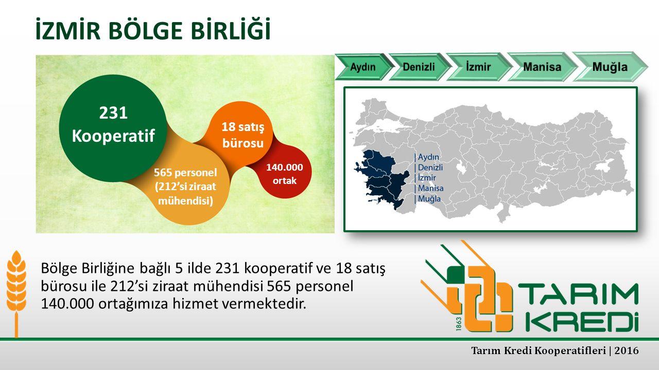 İZMİR BÖLGE BİRLİĞİ 231 Kooperatif 565 personel (212'si ziraat mühendisi) 18 satış bürosu 140.000 ortak Bölge Birliğine bağlı 5 ilde 231 kooperatif ve
