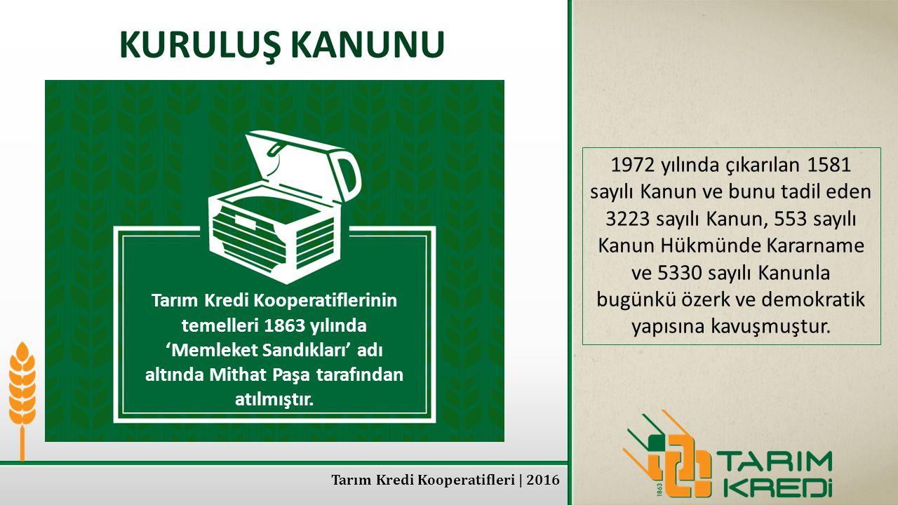 Tarım Kredi Kooperatifleri | 2016 KURULUŞ KANUNU 1972 yılında çıkarılan 1581 sayılı Kanun ve bunu tadil eden 3223 sayılı Kanun, 553 sayılı Kanun Hükmü