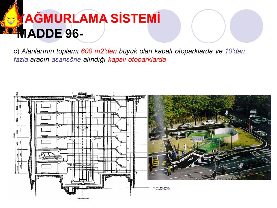 YAĞMURLAMA SİSTEMİ MADDE 96- c) Alanlarının toplamı 600 m2'den büyük olan kapalı otoparklarda ve 10'dan fazla aracın asansörle alındığı kapalı otopark