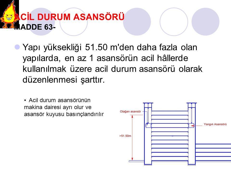 ACİL DURUM ASANSÖRÜ MADDE 63- Yapı yüksekliği 51.50 m'den daha fazla olan yapılarda, en az 1 asansörün acil hâllerde kullanılmak üzere acil durum asan