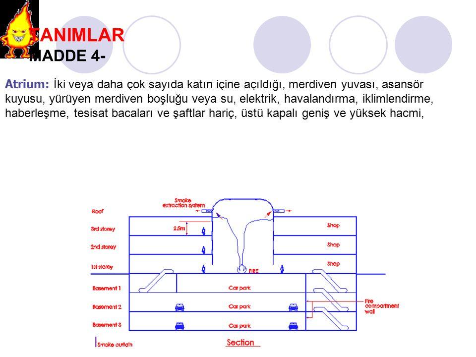 TANIMLAR MADDE 4- Atrium: İki veya daha çok sayıda katın içine açıldığı, merdiven yuvası, asansör kuyusu, yürüyen merdiven boşluğu veya su, elektrik,