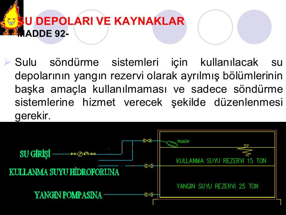 SU DEPOLARI VE KAYNAKLAR MADDE 92-  Sulu söndürme sistemleri için kullanılacak su depolarının yangın rezervi olarak ayrılmış bölümlerinin başka amaçl