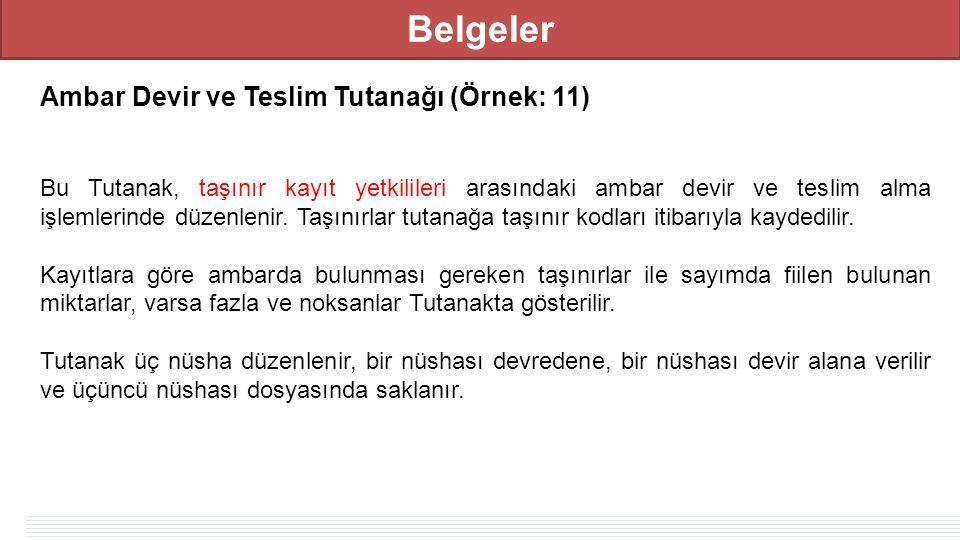 Belgeler Ambar Devir ve Teslim Tutanağı (Örnek: 11) Bu Tutanak, taşınır kayıt yetkilileri arasındaki ambar devir ve teslim alma işlemlerinde düzenlenir.