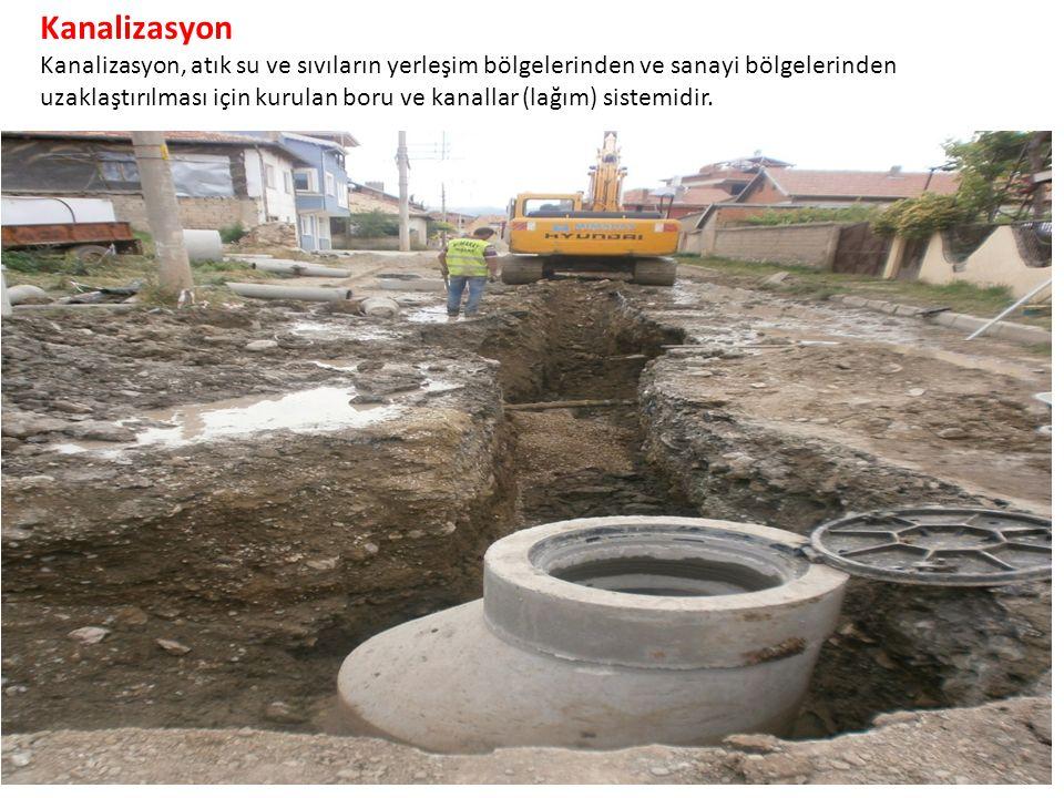 Kanalizasyon Kanalizasyon, atık su ve sıvıların yerleşim bölgelerinden ve sanayi bölgelerinden uzaklaştırılması için kurulan boru ve kanallar (lağım) sistemidir.