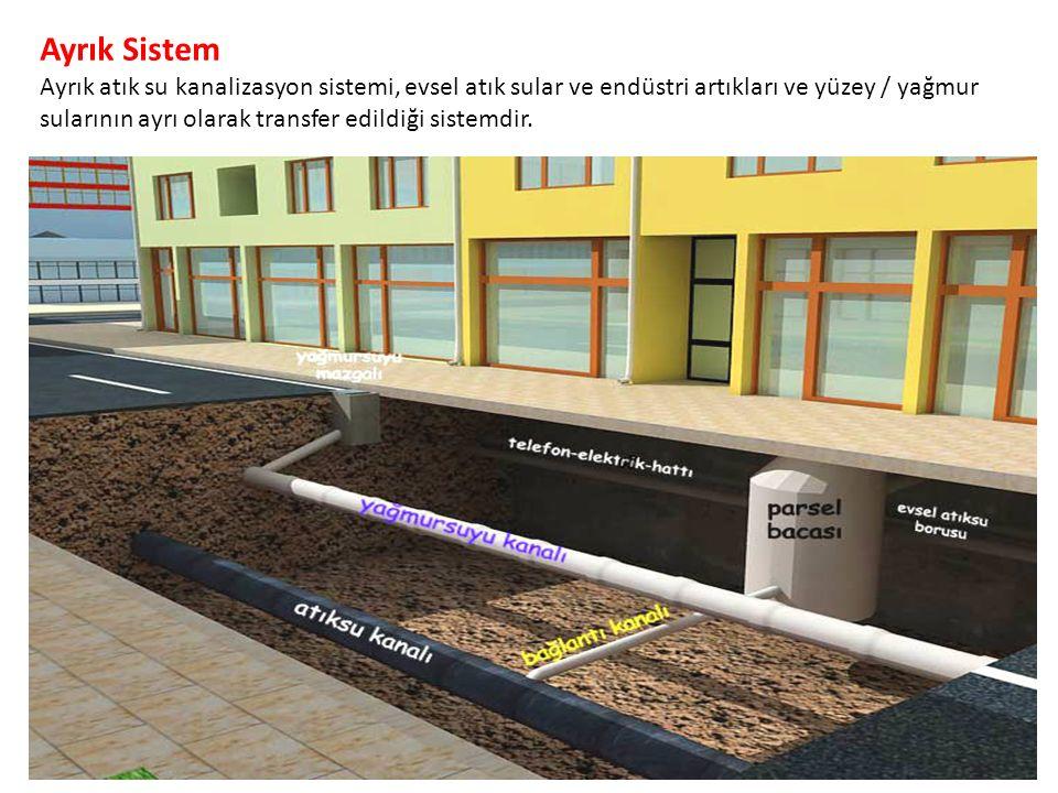 Ayrık Sistem Ayrık atık su kanalizasyon sistemi, evsel atık sular ve endüstri artıkları ve yüzey / yağmur sularının ayrı olarak transfer edildiği sistemdir.