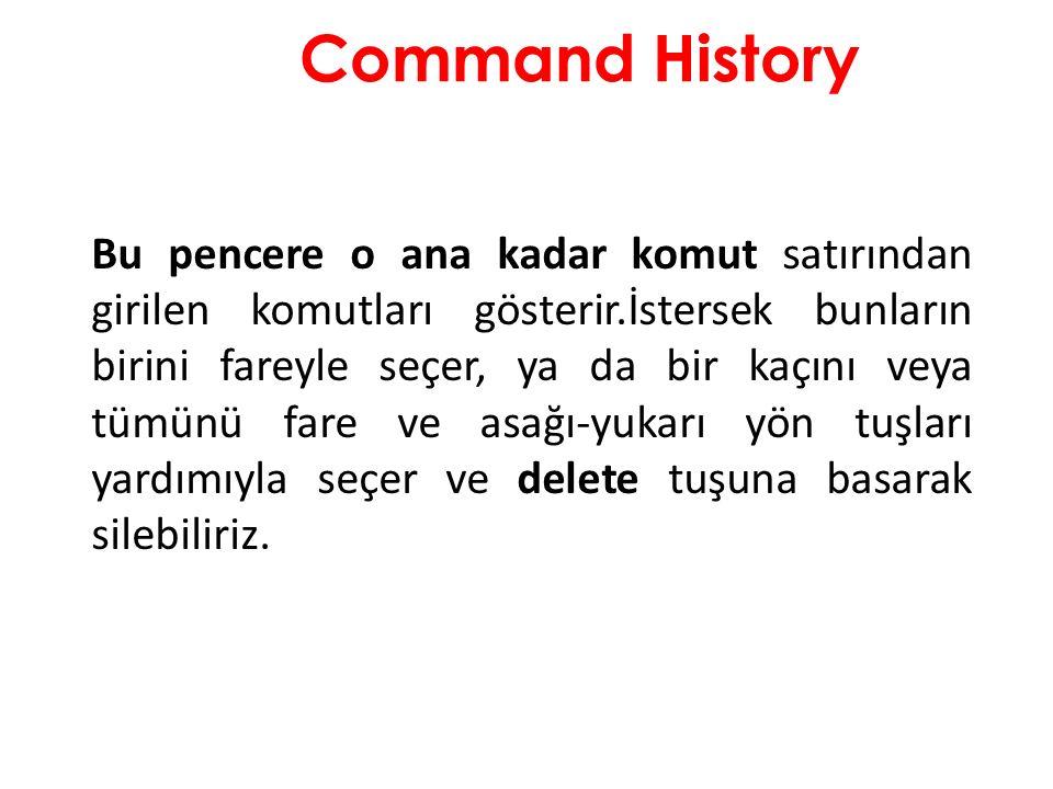 Command History Bu pencere o ana kadar komut satırından girilen komutları gösterir.İstersek bunların birini fareyle seçer, ya da bir kaçını veya tümün