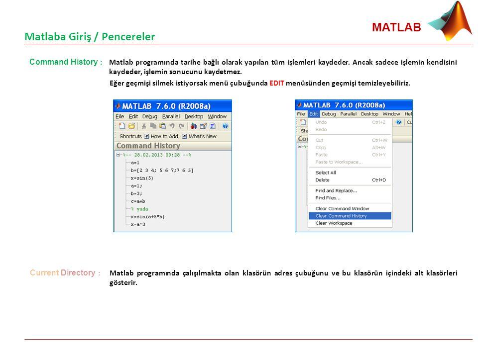 MATLAB Command History : Matlab programında tarihe bağlı olarak yapılan tüm işlemleri kaydeder. Ancak sadece işlemin kendisini kaydeder, işlemin sonuc