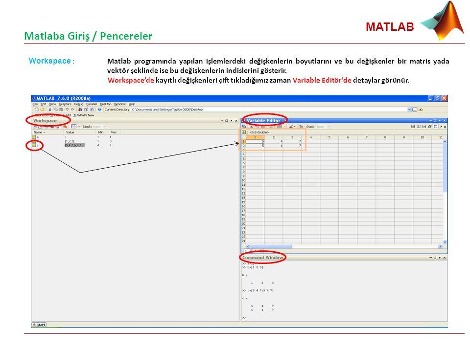 MATLAB Workspace : Matlab programında yapılan işlemlerdeki değişkenlerin boyutlarını ve bu değişkenler bir matris yada vektör şeklinde ise bu değişkenlerin indislerini gösterir.