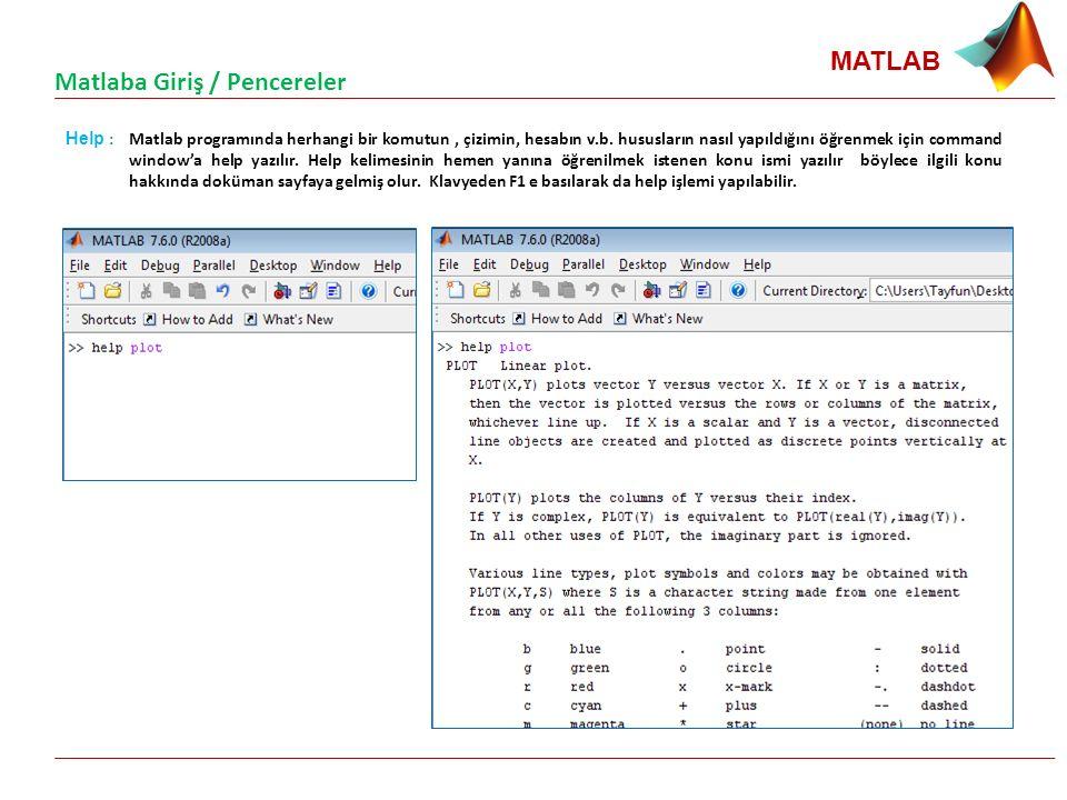 MATLAB Help : Matlab programında herhangi bir komutun, çizimin, hesabın v.b. hususların nasıl yapıldığını öğrenmek için command window'a help yazılır.