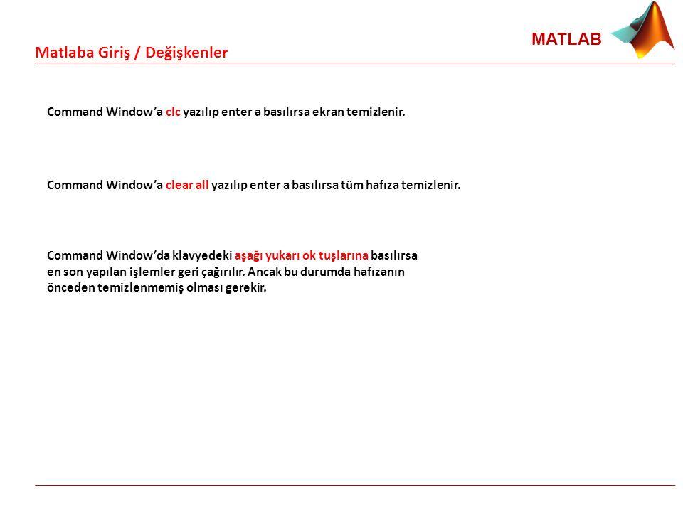 MATLAB Command Window'a clc yazılıp enter a basılırsa ekran temizlenir. Matlaba Giriş / Değişkenler Command Window'a clear all yazılıp enter a basılır