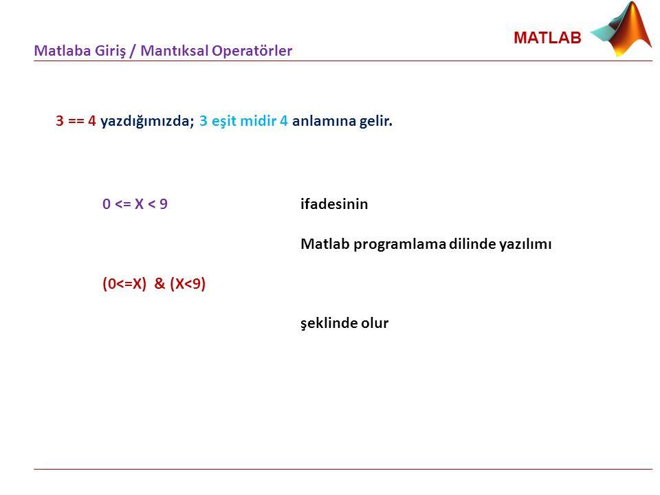 MATLAB Matlaba Giriş / Mantıksal Operatörler 3 == 4 yazdığımızda; 3 eşit midir 4 anlamına gelir. 0 <= X < 9 ifadesinin Matlab programlama dilinde yazı