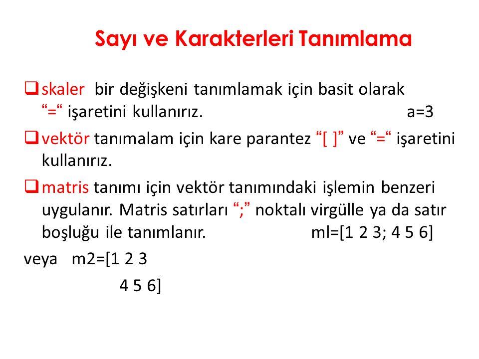  skaler bir değişkeni tanımlamak için basit olarak = işaretini kullanırız.a=3  vektör tanımalam için kare parantez [ ] ve = işaretini kullanırız.